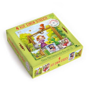 Cover Vier auf einen Streich Meine Märchenpuzzle-Box mit CD Puzzle Spiel für Kinder von Rusalka Reh und Larisa Lauber