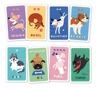 Innenansicht mit farbiger Illustration von vier Hunden