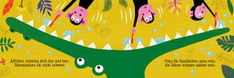 Innenansicht Doppelseite mit farbiger Illustration von Krokodil und Affen mit Zahnbürsten