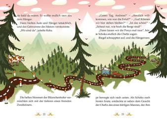 Innenansicht Doppelseite mit farbiger Illustration einer Straße über die Berge mit Auto