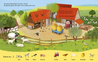 Innenansicht Doppelseite mit farbiger Illustration eines Bauernhofes
