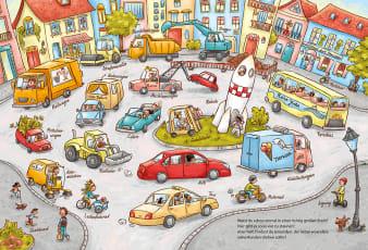 Innenansicht Doppelseite mit farbiger Illustration eines Kreisverkehrs mit Autos