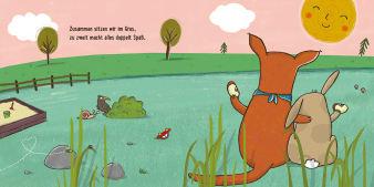 Innenansicht Doppelseite mit farbiger Illustration von Känguru und Hase