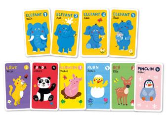 Innenansicht Karten mit farbiger Illustration von verschiedenen Tieren