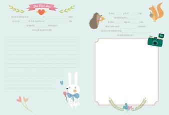 Innenansicht Doppelseite mit farbiger Illustration von Tierkindern