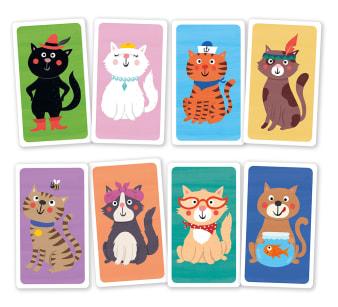 Innenansicht mit farbiger Illustration von vier Katzen