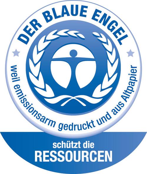 Logo Blauer Engel für Druckerzeugnisse