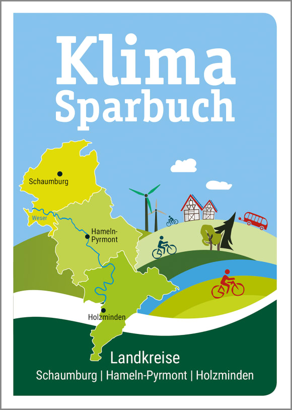 Cover: Klimasparbuch der Landkreise Schaumburg, Hameln-Pyrmont, Holzminden 2020/21