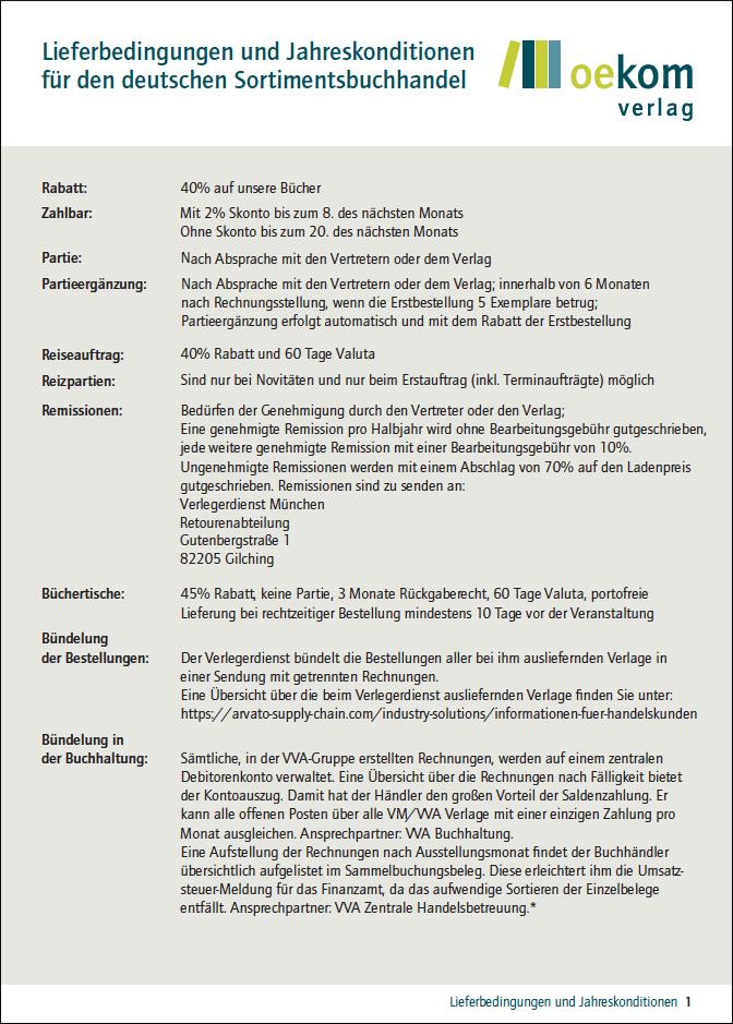 Lieferbedingungen und Jahreskonditionen für den deutschen Sortimentsbuchhandel