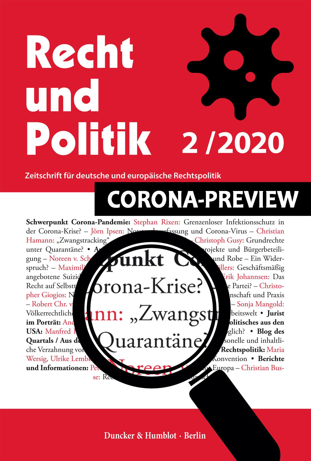 SCHWERPUNKT CORONA-PANDEMIE: FREI ZUGÄNGLICH BIS 30.06.2020!