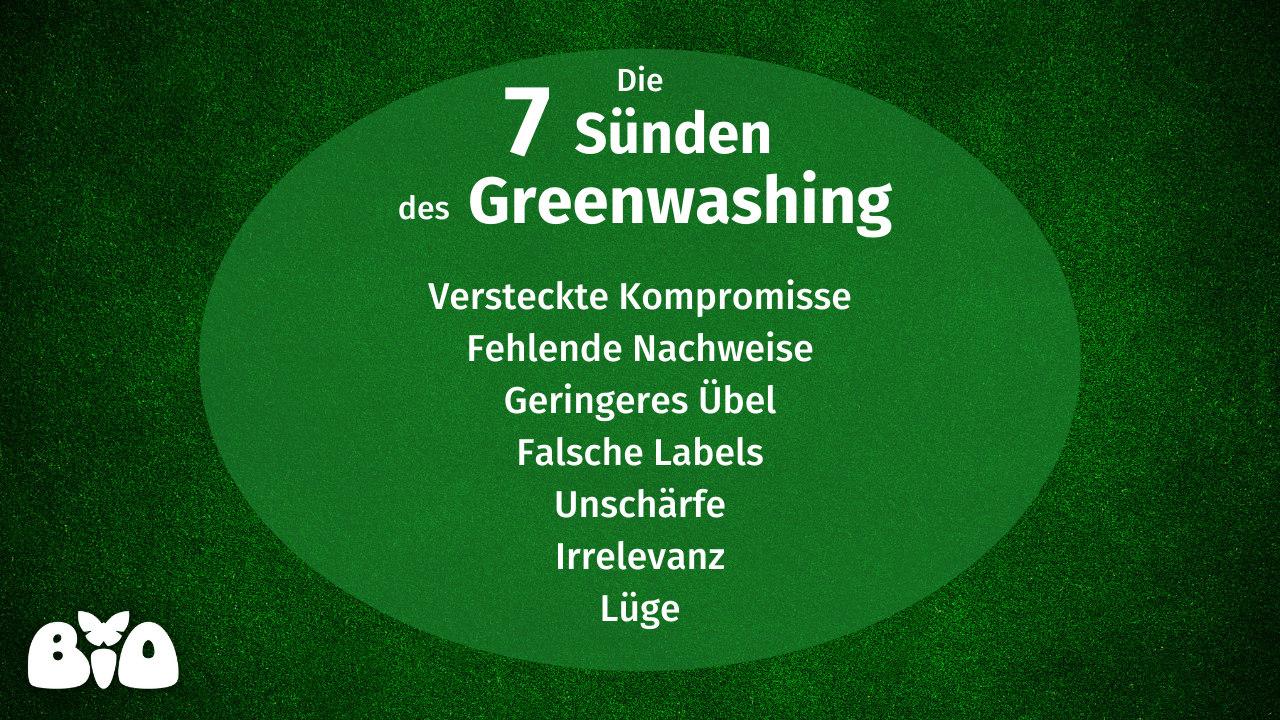 Übersichtsgrafik sieben Sünden des Greenwashing