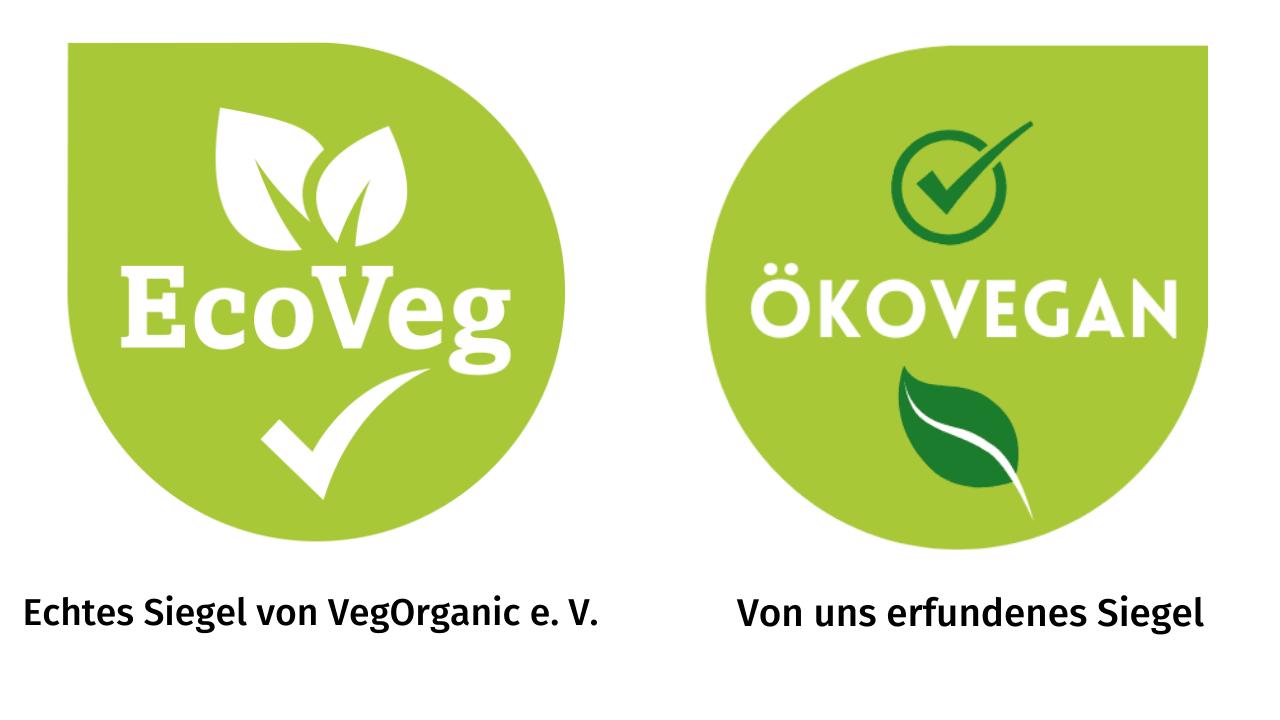 Echtes Öko-Siegel und Fake Öko-Siegel