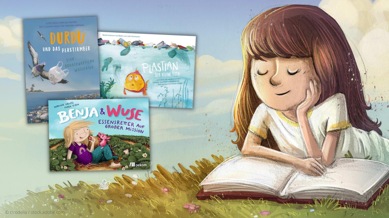 Das Bild zeigt drei Kinderbücher aus dem oekom Verlag und ein lesendes Mädchen.