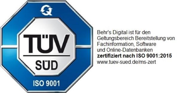 BEHR'S…DIGITAL zertifiziert nach ISO 9001:2015