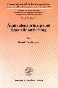 Cover Äquivalenzprinzip und Staatsfinanzierung