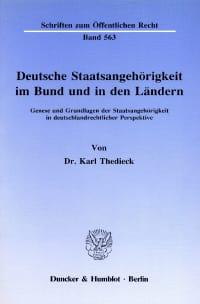 Cover Deutsche Staatsangehörigkeit im Bund und in den Ländern