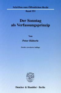 Cover Der Sonntag als Verfassungsprinzip
