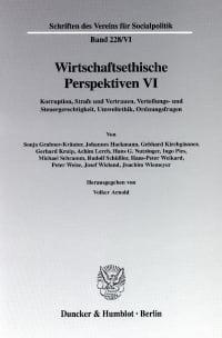 Cover Wirtschaftsethische Perspektiven VI