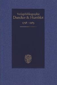 Cover Duncker & Humblot Verlagsbibliographie 1798–1945