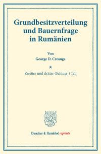 Cover Grundbesitzverteilung und Bauernfrage in Rumänien