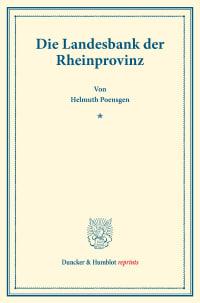 Cover Die Landesbank der Rheinprovinz