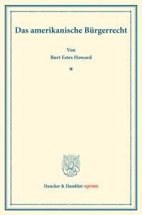 Cover Das amerikanische Bürgerrecht