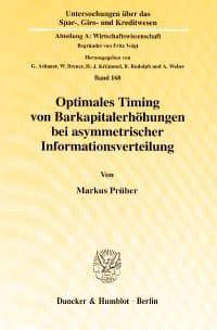 Cover Optimales Timing von Barkapitalerhöhungen bei asymmetrischer Informationsverteilung