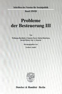 Cover Probleme der Besteuerung III