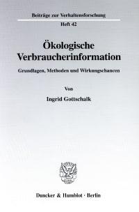 Cover Ökologische Verbraucherinformation