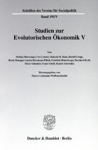Cover Studien zur Evolutorischen Ökonomik V