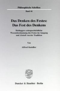 Cover Das Denken des Festes: Das Fest des Denkens