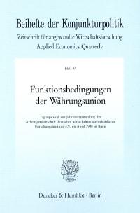 Cover Funktionsbedingungen der Währungsunion
