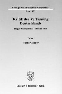 Cover Kritik der Verfassung Deutschlands