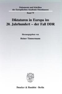 Cover Diktaturen in Europa im 20. Jahrhundert - der Fall DDR