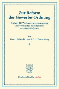 Cover Zur Reform der Gewerbe-Ordnung