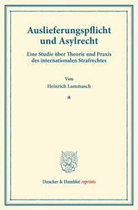 Cover Auslieferungspflicht und Asylrecht
