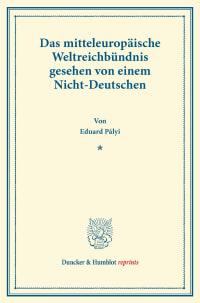 Cover Das mitteleuropäische Weltreichbündnis