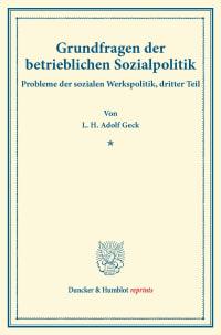 Cover Grundfragen der betrieblichen Sozialpolitik
