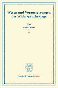 Cover Wesen und Voraussetzungen der Widerspruchsklage