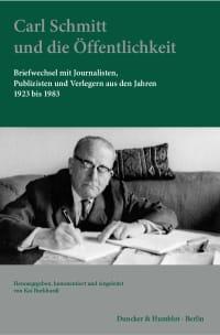 Cover Carl Schmitt und die Öffentlichkeit