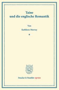 Cover Taine und die englische Romantik