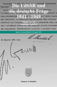 Cover Die UdSSR und die deutsche Frage 1941–1949