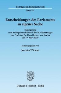 Cover Entscheidungen des Parlaments in eigener Sache