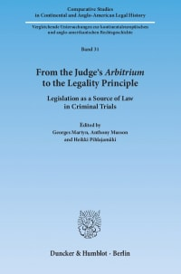 Cover From the Judge's ›Arbitrium‹ to the Legality Principle
