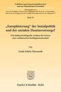 """Cover """"Europäisierung"""" der Sozialpolitik und der sozialen Daseinsvorsorge?"""