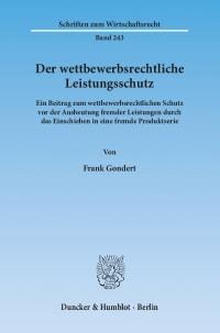 Cover Der wettbewerbsrechtliche Leistungsschutz