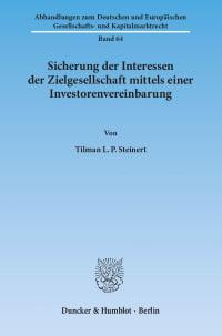 Cover Sicherung der Interessen der Zielgesellschaft mittels einer Investorenvereinbarung