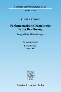 Cover Parlamentarische Demokratie in der Bewährung