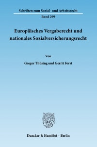 Cover Europäisches Vergaberecht und nationales Sozialversicherungsrecht