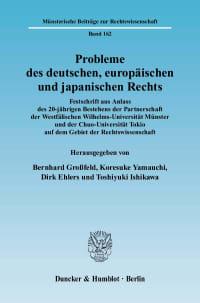 Cover Probleme des deutschen, europäischen und japanischen Rechts
